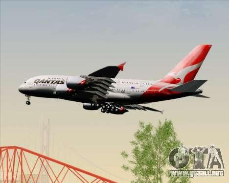 Airbus A380-841 Qantas para vista inferior GTA San Andreas