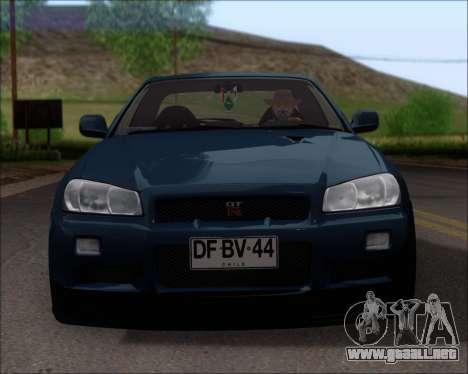 Nissan Skyline GT-R R34 V-Spec II para vista inferior GTA San Andreas