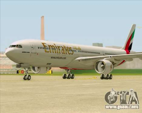 Airbus A330-300 Emirates para GTA San Andreas vista posterior izquierda