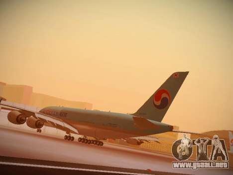 Airbus A380-800 Korean Air para vista lateral GTA San Andreas