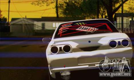 Nissan Skyline R32 Drift Monster Energy para GTA San Andreas vista posterior izquierda