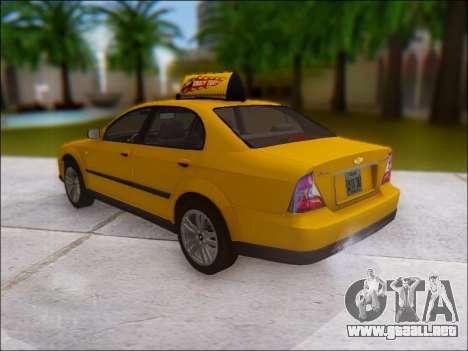 Chevrolet Evanda Taxi para GTA San Andreas vista posterior izquierda