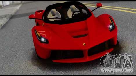 Ferrari LaFerrari 2014 (IVF) para GTA San Andreas vista hacia atrás
