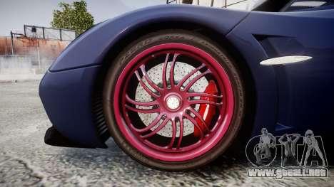 Pagani Huayra 2013 para GTA 4 vista hacia atrás