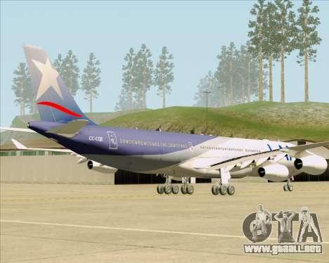 Airbus A340-313 LAN Airlines para GTA San Andreas vista posterior izquierda