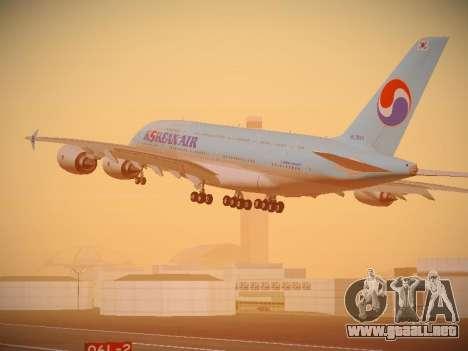 Airbus A380-800 Korean Air para GTA San Andreas vista posterior izquierda