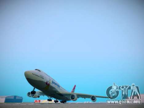Boeing 747-438 Qantas Boxing Kangaroo para GTA San Andreas vista posterior izquierda