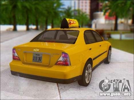 Chevrolet Evanda Taxi para GTA San Andreas vista hacia atrás