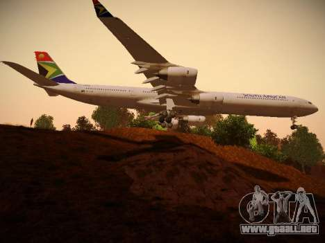 Airbus A340-600 South African Airways para GTA San Andreas vista hacia atrás