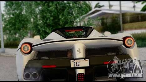 Ferrari LaFerrari 2014 (HQLM) para GTA San Andreas vista hacia atrás