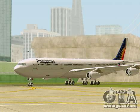 Airbus A340-313 Philippine Airlines para GTA San Andreas vista posterior izquierda