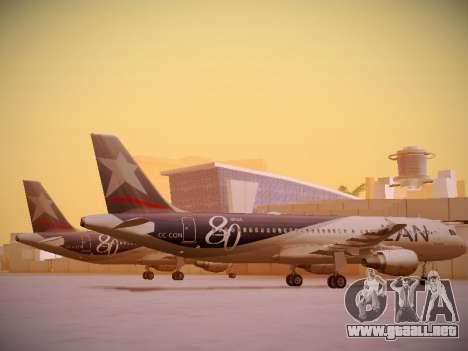 Airbus A320-214 LAN Airlines 80 Years para GTA San Andreas vista posterior izquierda