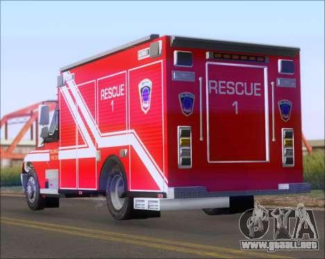 Pierce Commercial TFD Rescue 1 para GTA San Andreas vista posterior izquierda