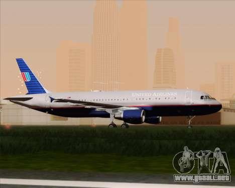 Airbus A320-232 United Airlines (Old Livery) para GTA San Andreas vista hacia atrás