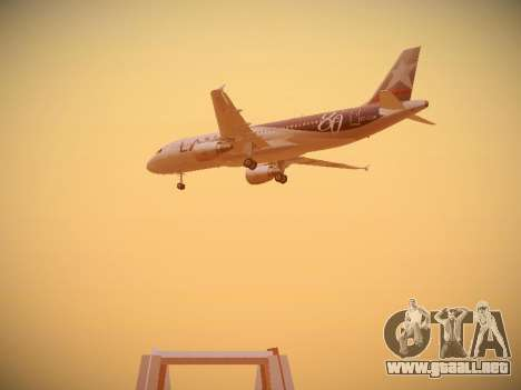 Airbus A320-214 LAN Airlines 80 Years para GTA San Andreas vista hacia atrás
