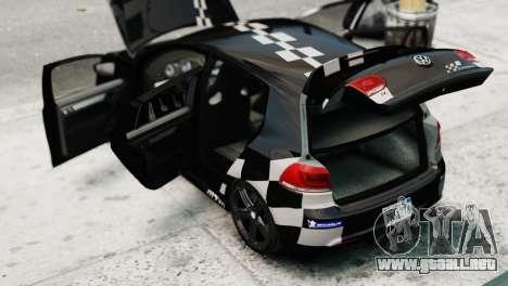 Volkswagen Golf R 2010 MTM Paintjob para GTA 4 vista hacia atrás