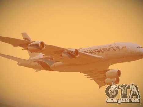 Airbus A380-800 Malaysia Airlines para la vista superior GTA San Andreas