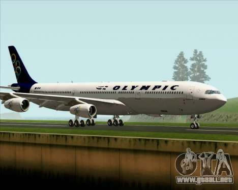 Airbus A340-313 Olympic Airlines para GTA San Andreas vista posterior izquierda