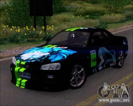 Nissan Skyline GT-R R34 V-Spec II para las ruedas de GTA San Andreas