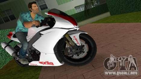 Aprilia RSV4 2009 White Edition I para GTA Vice City visión correcta