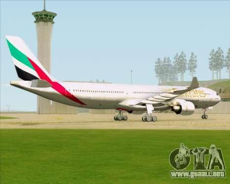 Airbus A330-300 Emirates para GTA San Andreas vista hacia atrás