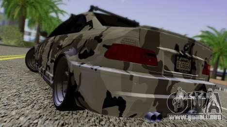 BMW M3 E46 Coupe 2005 Hellaflush v2.0 para GTA San Andreas vista posterior izquierda