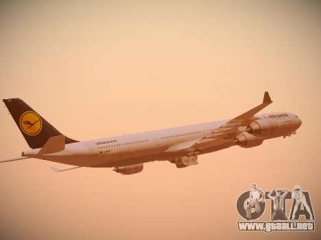 Airbus A340-600 Lufthansa para la vista superior GTA San Andreas