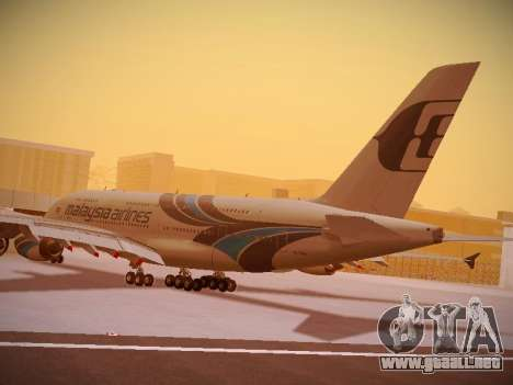 Airbus A380-800 Malaysia Airlines para vista inferior GTA San Andreas