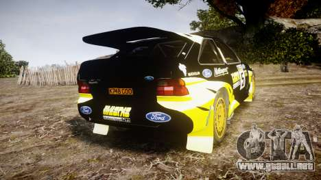 Ford Escort RS Cosworth 2.0 Vespas Team para GTA 4 Vista posterior izquierda