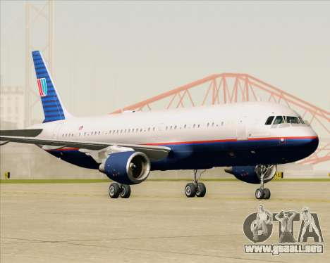 Airbus A320-232 United Airlines (Old Livery) para GTA San Andreas left