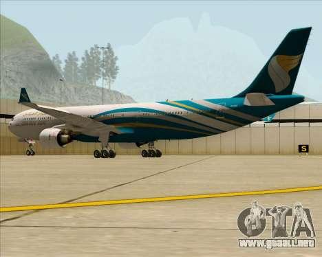 Airbus A330-300 Oman Air para GTA San Andreas vista hacia atrás