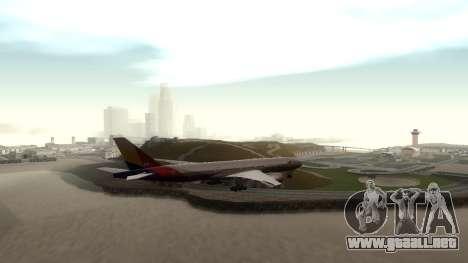 Boeing 777-280ER Asiana Airlines para la visión correcta GTA San Andreas