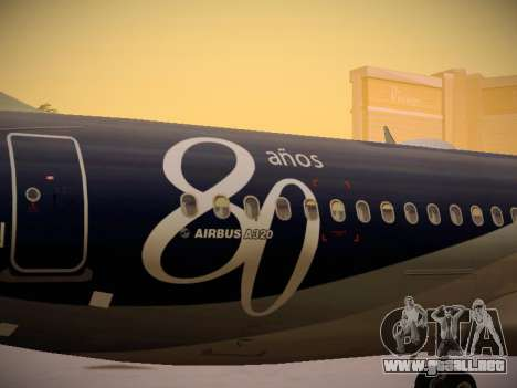 Airbus A320-214 LAN Airlines 80 Years para la vista superior GTA San Andreas