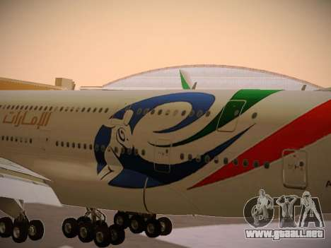 Airbus A380-800 Emirates Rugby World Cup para visión interna GTA San Andreas