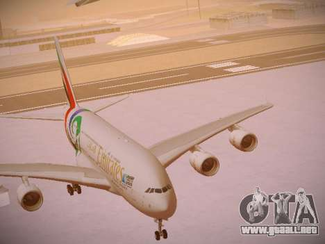 Airbus A380-800 Emirates Rugby World Cup para vista inferior GTA San Andreas