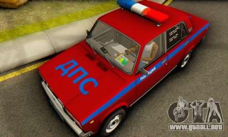 VAZ 2107 Policía para GTA San Andreas vista hacia atrás