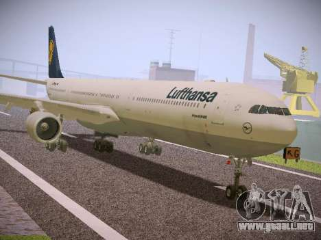 Airbus A340-600 Lufthansa para GTA San Andreas vista posterior izquierda