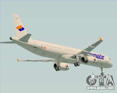 Airbus A321-231 Spanair para GTA San Andreas vista hacia atrás