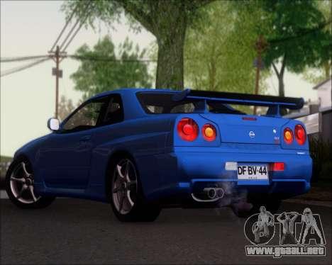 Nissan Skyline GT-R R34 V-Spec II para GTA San Andreas vista posterior izquierda
