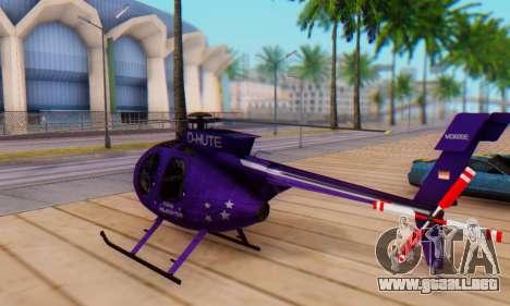 El MD500E helicóptero v1 para GTA San Andreas vista posterior izquierda