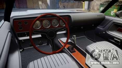 Dodge Challenger 1971 v2.2 PJ5 para GTA 4 vista hacia atrás