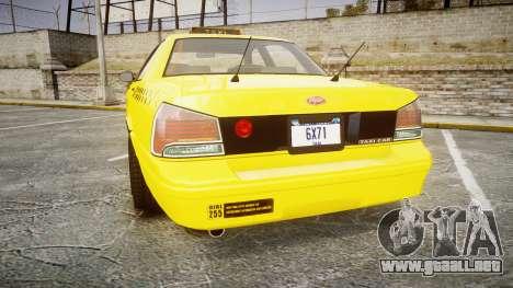 GTA V Vapid Taxi NYC para GTA 4 Vista posterior izquierda