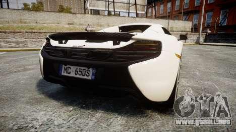 McLaren 650S Spider 2014 [EPM] Bridgestone v3 para GTA 4 Vista posterior izquierda