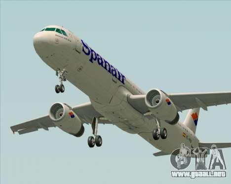 Airbus A321-231 Spanair para vista inferior GTA San Andreas