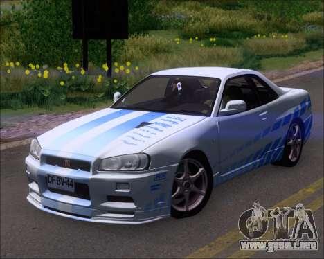 Nissan Skyline GT-R R34 V-Spec II para GTA San Andreas interior