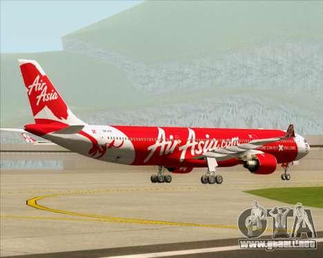 Airbus A330-300 Air Asia X para GTA San Andreas vista hacia atrás