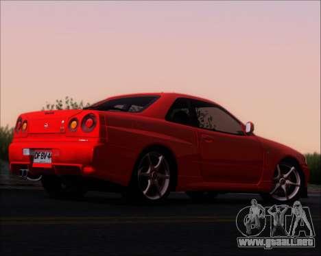 Nissan Skyline GT-R R34 V-Spec II para la visión correcta GTA San Andreas