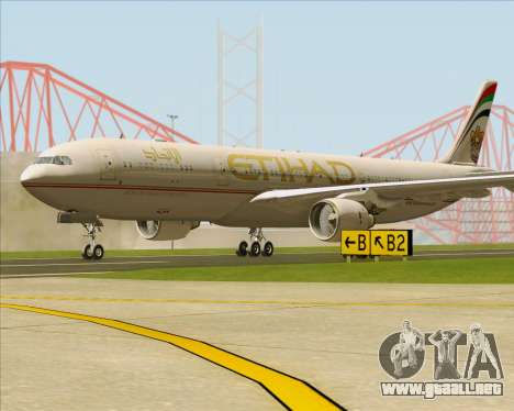 Airbus A330-300 Etihad Airways para GTA San Andreas vista posterior izquierda