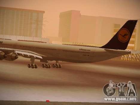 Airbus A340-600 Lufthansa para GTA San Andreas vista hacia atrás