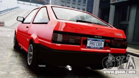 Toyota Sprinter Trueno AE86 SR para GTA 4 left